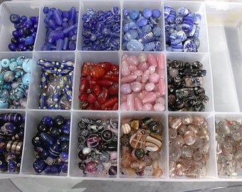 Bulk Beading Supplies Glass Lampwork Mix, All Shapes, 6-14mm Organized Storage Bin Full of Glass Beads, DIY Jewelry Making Stinging Supplies