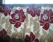 """Red Taupe Curtain Valance Funky Floral Fabric Rod Pocket Bathroom Kitchen Panel Ruched / Flat54"""" x 18"""" 100% Cotton"""