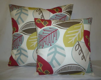 "PAIR 22"" Robins Blue Red Taupe Floral Modern Cushion Covers Designer Pillowcases, Shams, Scatter Slips, Accent Pillows"