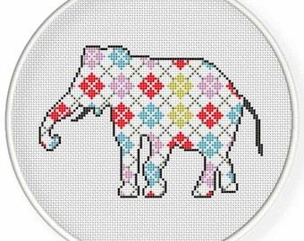 Instant download,Cross stitch pattern,pdf,5.6.7 inch hoop cross stitch,eleghant ,zxxc0943
