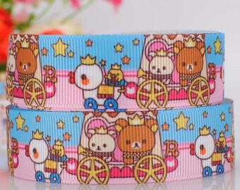"3 yards 22 mm ( 7/8"" ) Grosgrain Ribbon Japanese Rilakkuma Bear Printed Ribbon Hair bow ribbon Sewing Ribbon Scrapbook 2262"