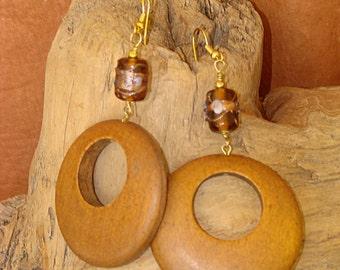 Wood Hoops & Brown Artisan Glass Handcrafted Earrings