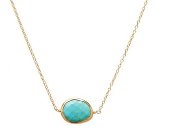 Turquoise slice gold vermeil necklace