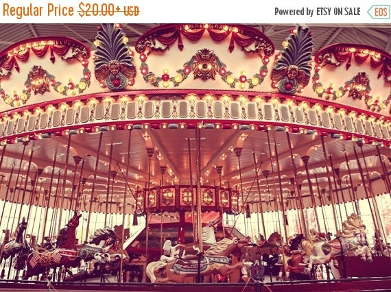 CHRISTMAS in JULY SALE The Carousel One Photo Print, Nursery Decor, Carnival Prints, Horses, Carnival Art, Interior Design