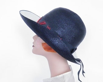 Vintage navy blue hat, Kutz 1960s winged, excellent condition