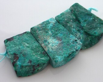 Amazing rough rainbow chrysocolla double drilled plates 26-30mm