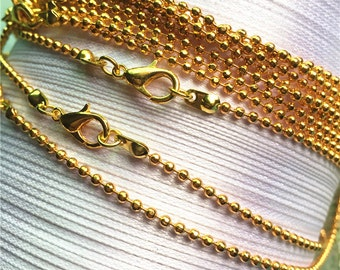 Brass Material--10pcs 22 inch 2mm gold plated facet ball necklace chains with lobster clasps
