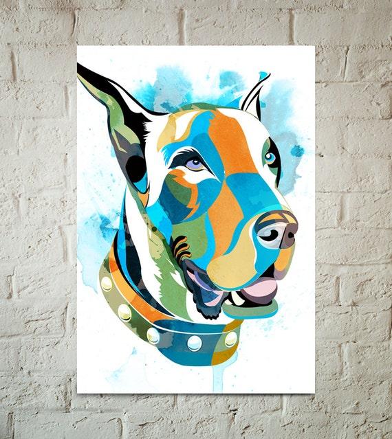 GREAT DANE, Dog, Art Print, Pop Art, Pet Decor, Poster sized Dog Decor, Dog Nursery decor, Pet Portrait, Gift for Pet Lover, Gift under 25