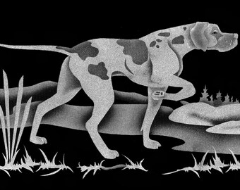 Carved Glass Pointer Hunting Dog on 6x9 inch Rectangular Class with Handcrafted Wooden Base