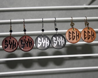 CUSTOM Monogram Earrings Wood