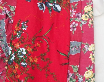 Bundle of Vintage French Fabric Pieces a riot of red roses 1940s material Boussac Romanex