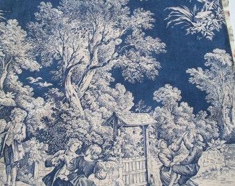 Vintage French Fabric Toile de Jouy Midnight Blue Pastoral Romantic Vignettes
