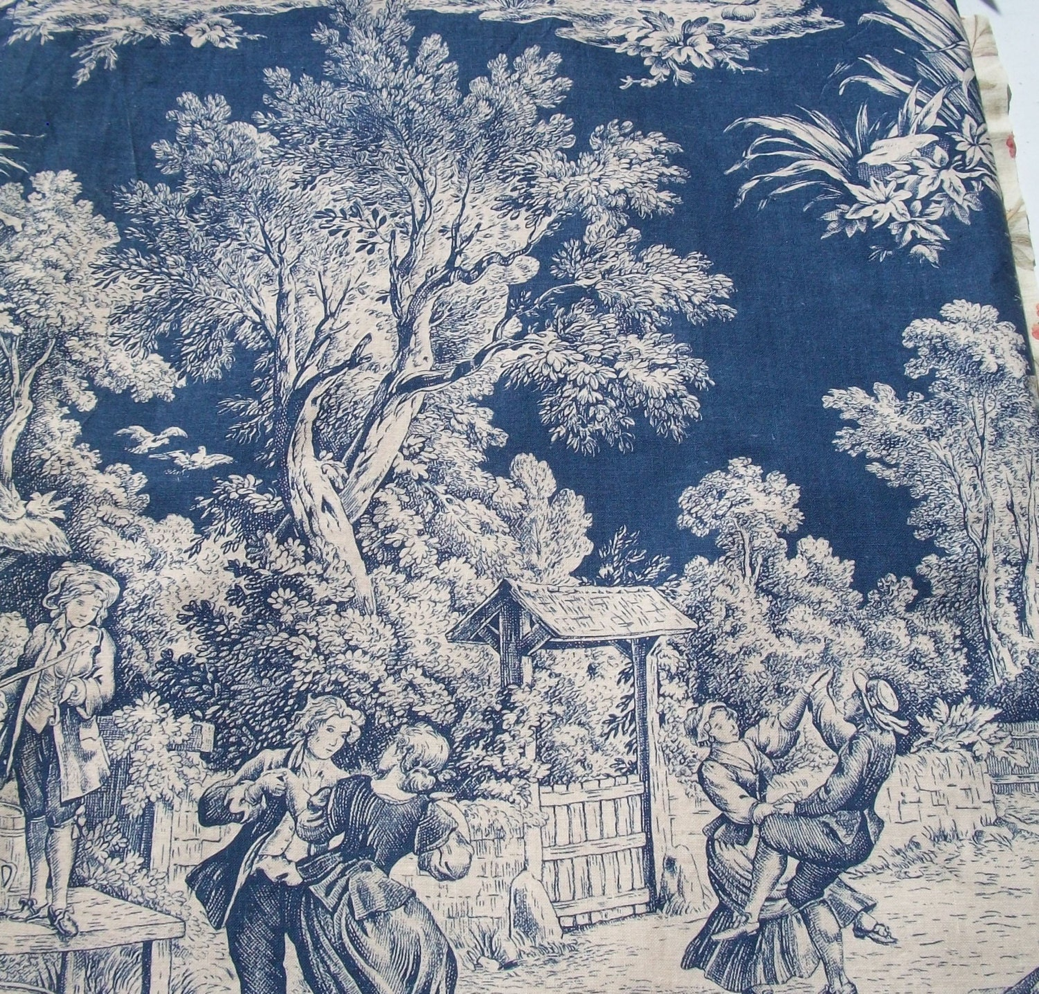 Vintage french fabric toile de jouy midnight blue pastoral for French toile fabric