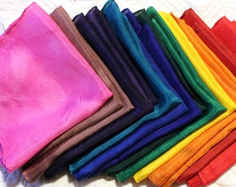 Solid Color Waldorf Inspired Playsilks ~ Silk Canopy Scarf ~ Rainbow ~ Hand Dyed ~ Choose your Size & Color!