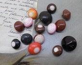 15 Antique China Bullseye Ball Buttons w/ Loop Shanks Charm String
