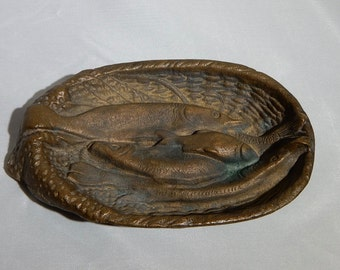 Antique Cast Bronze Pin Dish or Ashtry Basket of Fish