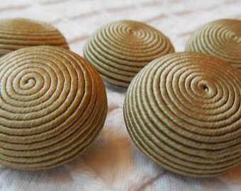 5 Matching Spiral Wrapped Fabric Coat Buttons