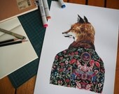MR.FOX Print 33 X 24.15 cm 270 gsm. Quality Paper  Limited Edition 50 pieces from my original Copic Marker on Muji Notebook