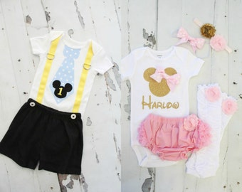 Baby Mickey Mouse & Baby Minnie Mouse Baby Boy and Baby Girl Twins Birthday Outfits. Tie Suspenders Bodysuit, Black Shorts Personalized Girl