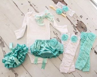 Newborn Baby Girl Coming Home Outfit Set of up to 4 Items. Or 1st Birthday Outfit. Aqua Blue Diaper Cover, Leg Warmers, Bow Bodysuit Holiday