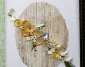 Quilled Card, All Occasion, Wedding, Bride, Engagement, Anniversary, Birthday, New Baby, Yellows and Cream Pearls on Faux Wood Background