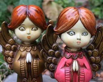 Ever Sweet Vintage Made in Japan Praying Angels Paper Mache Fingurines