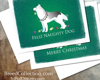 Siberian Husky Christmas Card from the Breed Collection - Digital Download Printable