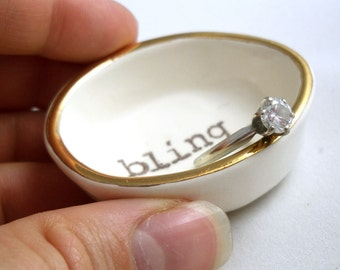 gift for mom BLING RING HOLDER, wedding ring dish, engagement ring holder, gold ring dish, bridal shower gift, wedding gift, gift for wife