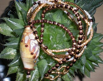 Beaded Earthtone Necklace from Glass Focal Bead
