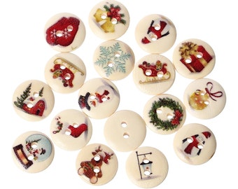 15 pcs Assortment of Christmas Wood Buttons- 15mm (5/8 in) - 2 holes