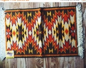 ON SALE Vintage, Nylon, American, Tribal Print, Waffle Back, New, Deadstock, Woolworth,Trinity Rug, 24 by 42 inch, Throw Rug