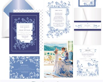 Blue China .Floral wedding invitation suite .Invitation Sample. Printing services available
