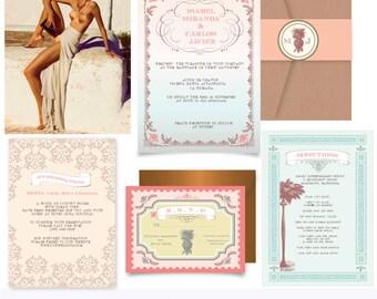 Hispaniola. Latin destination Wedding Invitation suite. Invitation Suite. Printing services available .