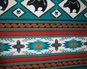 Per Yard Turquoise Color Tribal Print Fabric/Designed for Elizabeth's Studio/ Cotton print apparel fabric/ Aztec fabric/Tucson Collection
