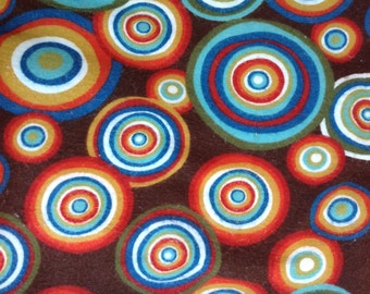 Modern Circle and Dots Flannel Fabric