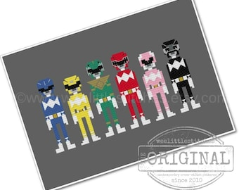 The Mighty Morphin Power Rangers - The *Original* Pixel People - PDF Cross-stitch Pattern - Instant Download