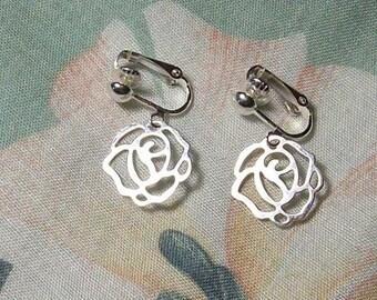 Lightweight Silver Rose Flower Clip On Earrings
