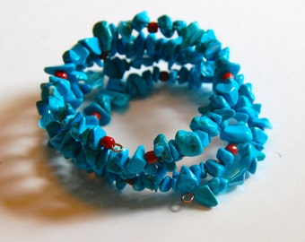 Turquoise, Coral and Crystal Memory Wire Bracelet