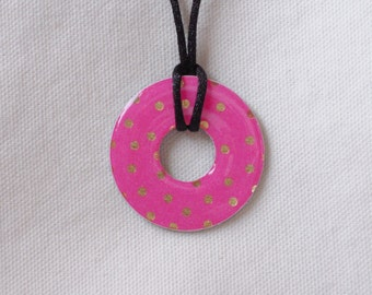 Metal Washer Necklace, Bright Pink Necklace, Pink and Gold Necklace, Pink Jewelry, Pink and Gold Jewelry