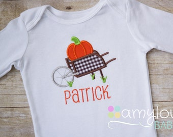 Personalized Pumpkin Wheelbarrow Gingham Baby Bodysuit - Pumpkin Patch - Fall - First Thanksgiving or Halloween - Boy or Girl