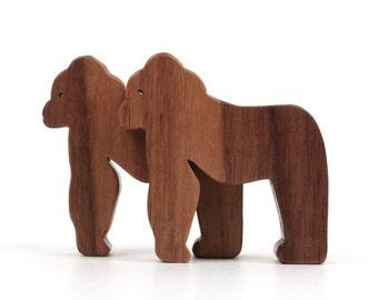 Wood Toy Gorillas Miniature Noah's Ark Animals Zoo Play Set Gorilla Figurines Great Apes Hand Cut Scroll Saw