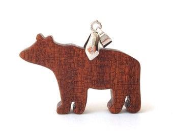 Bear Totem Necklace Wood Animal Pendant Woodland Hand Cut Scroll Saw Sapele
