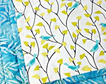 Quilted Table Runner, Spring Table Runner, Batik Table Runner, Blue Table Runner, Bird Table Runner, Bird Decor, Bird Fabric, Table Topper