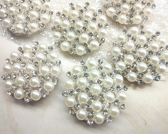 30 mm Large Ivory Pearl Silver Metal Rhinestone Buttons  Bridal Embellishment