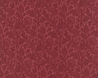 Morris Earthly Paradise - Thistle in Red by Barbara Brackman for Moda Fabrics