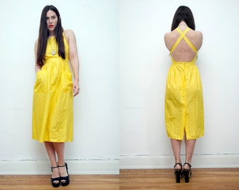 Vintage Pinafore Cotton Open Back Backless Cross Back Sundress Dress 70's