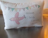 newborn girl gift, baby girl pillow, pink airplane, baby shower gift, pink toddler room ideas, adventure baby cushion, nursery throw pillow