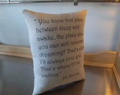 Book pillow Peter Pan pillow graduation gift book throw pillow reading pillows J M Barrie quote classic literature love quote cushion gifts