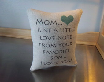 Mom gift pillow gift to mom from son mom birthday gift cotton canvas cushion love quote throw pillow  mom thank you gift pillows