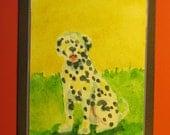 "DALMATION DOG CARD, Original Handmade Watercolor (""Blank Inside"")"